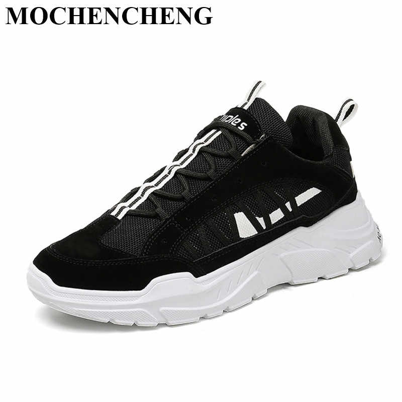 New Men Low Lace-up Sneakers Flat Platform Casual Shoes Breathable Anti-skid Soft Design Stylish Mixed Color Male Tenis Footwear