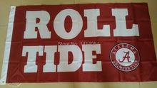 alabama crimson roll  tide  Flag 150X90CM NCAA 3X5FT Banner 100D Polyester grommets custom009, free shipping