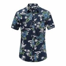 2018 New Summer Mens Short Sleeve Beach Hawaiian Shirts Cotton Casual Floral Shirts