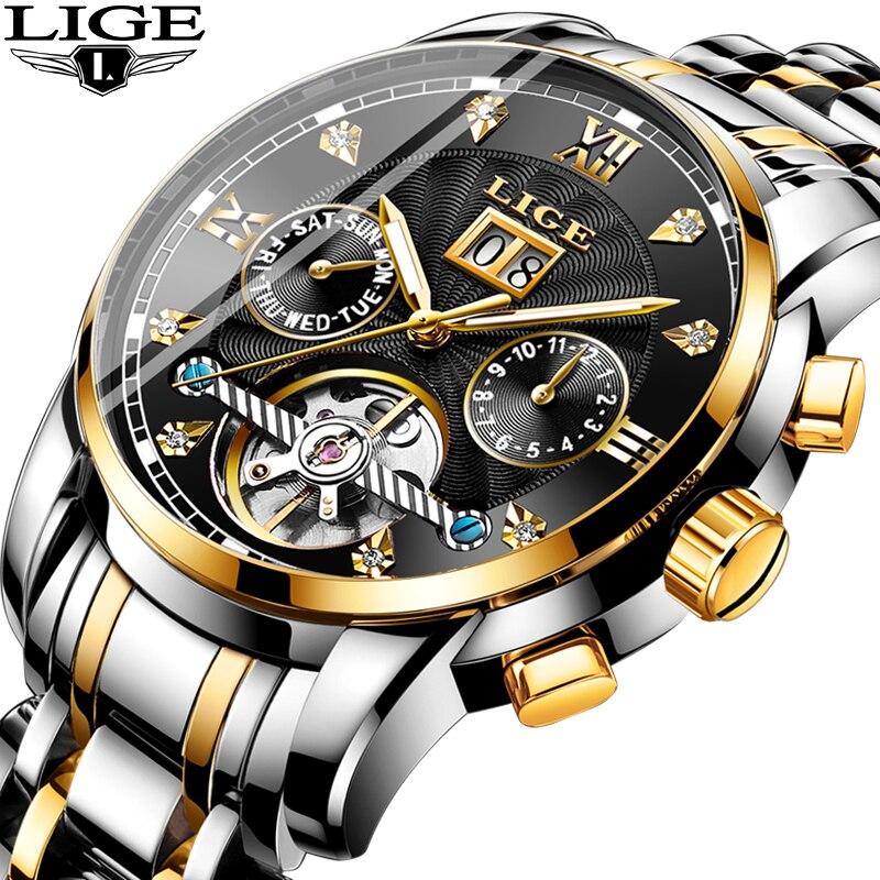 LIGE Relogio 2019 Relógio Mens Relógios Top Marca de Luxo Relógio Mecânico Automático Dos Homens de Negócios de Aço Completo Relógio Do Esporte À Prova D' Água