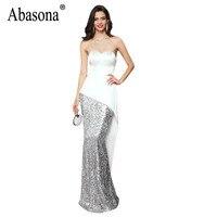 Abasona Evening Party Sequins Dress Women Strapless Asymmetrical Bodycon Dresses Sexy Backless Long Maxi Dresses Women