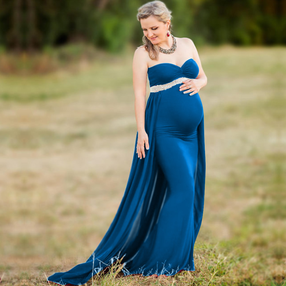 Maternity Dresses For Photo Shooting V-Neck Red Dress Maternity Photography Props Sleeveless Pregnancy Dress Maternity Grown