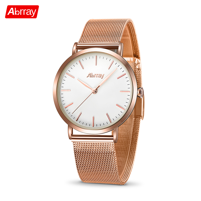 Abrray Luxury Brand Klockor Klockor Ultra Thin Rose Gold Ladies Watch 30 meter Vattentät Kvarts Armbandsur Relogio Masculino