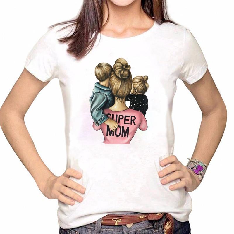 Women Clothes Tshirt Cartoon Super Mom Boy Girl Shirt Printed Casual Woman Tee Ladies Female T-shirt Short Sleeve T Top