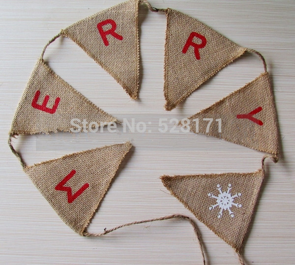 15 Flags 3M Christmas Garland Jute Burlap Merry Bunting Banner Vintage Decoration Party Supplies In Banners