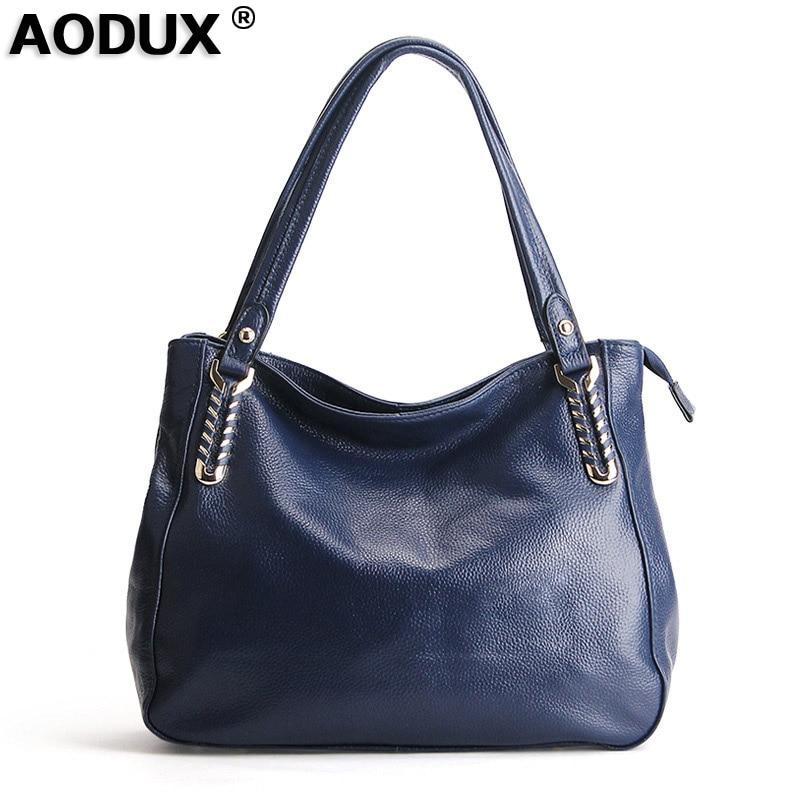 AODUX Europese Brand Echt Echte Koe Lederen Vrouwen Schoudertas Crossbody Mode Tas Handtassen Lange Strap Messenger Tassen Satchel