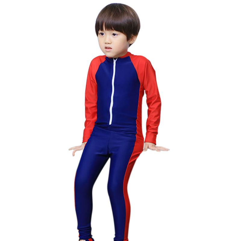 2018 New Childrens Beach Necessary Splicing General Long-sleeved Conjoined Diving Suit Bathing Suit Sun-protective Clothing