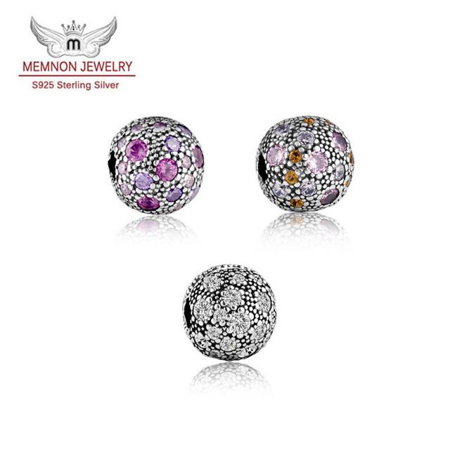 Fina joyería de la pulsera Pavimenta CZ Estrellas Clip Charms 925 granos de la plata esterlina marca fit pulseras del encanto del grano DIY assessories MN320