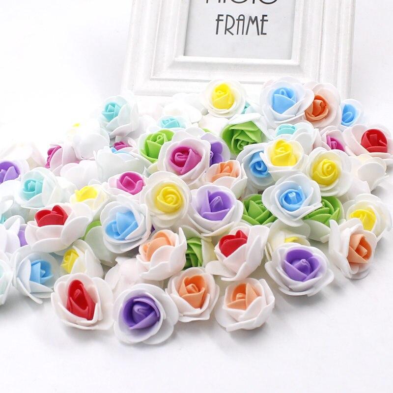 100 шт. пенополиэтилен поддельные цветок розы Глава Искусственные цветы Дешевые Свадебные украшения для скрапбукинга подарочной коробке DIY ВЕНОК multi -использовать