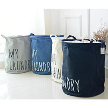 1pc MY LUNDRY Printing Cotton Linen Sundries Storage Bag/Laundry Basket Storage Barrels Waterproof Binding Dirty Clothes/Toys