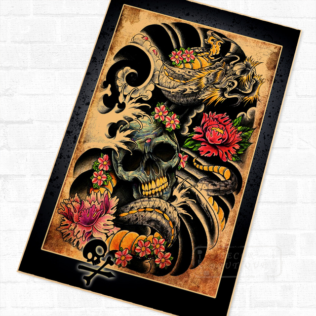 The Skeleton Creative Classic Tattoo Wall Mural Poster Decorative