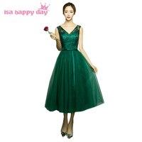 V pescoço elegante vestido bridesmade tulle chá comprimento do vestido da dama de honra vestidos das damas de honra vestido de baile verde escuro para o casamento H4110