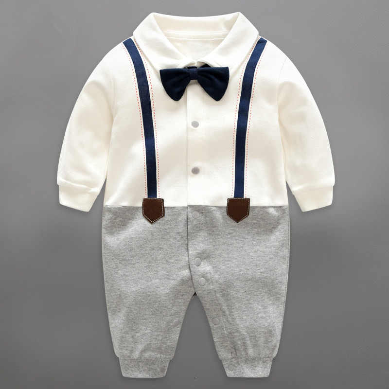 c7b848f22031 Baby Rompers Cotton Bow Tie Gentleman Party Clothing Spring Toddler Prince  Overalls Newborn Infant Jumpsuits Baby