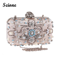 Flower Clutch Bag Women Pearl Handbag Crystal Rhinestones Evening Clutch Bags Black/Apricot Chain Shoulder Bag for Ladies