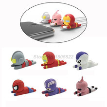 Superhero Cable Accessory Cable Animal Bites Cartoon USB Charger Data Cable Cord Protector For iphone 8 7 6 USB cable protection animal cable bites protector for iphone android usb protege cable charger squishy toys toy phone accessory fangs practical joke