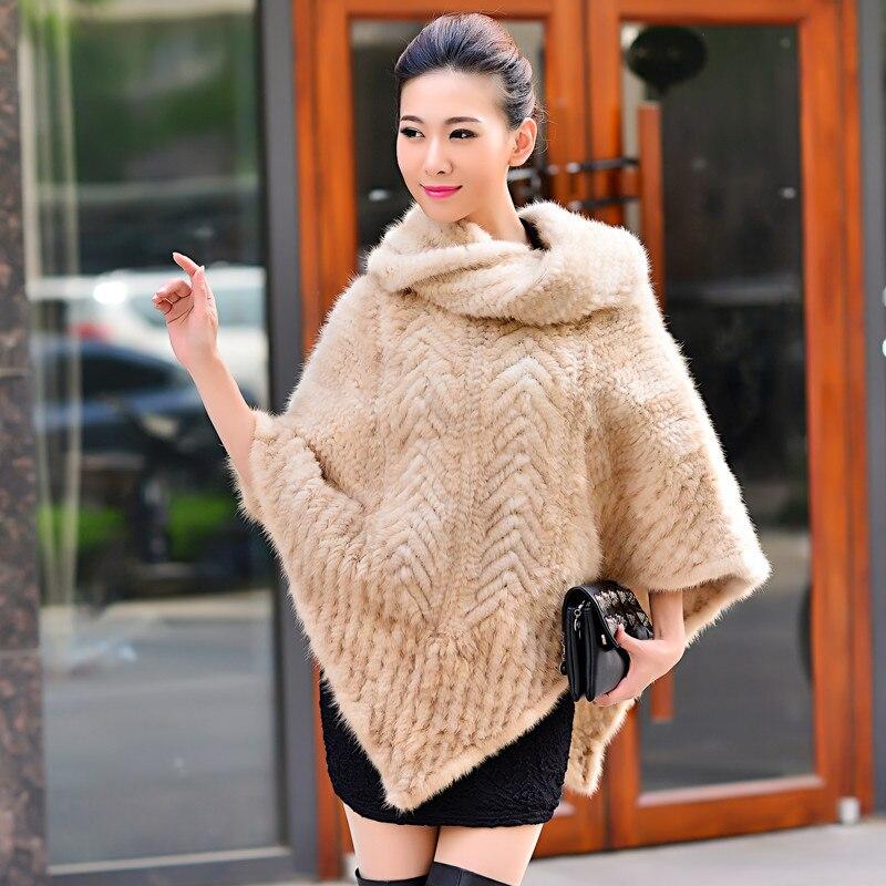 Real mink bont mantel cape vrouwen nertsen verdikking gebreide trui marter bont jas nertsen bont sjaal-in Echt Bont van Dames Kleding op  Groep 2