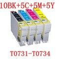 25 pcs t0731-t0734 73 4 cor do cartucho de tinta para epson stylus c79/c90/c92/c110/cx3900//cx4900/cx4905 cx5600 impressoras de tinta cheio