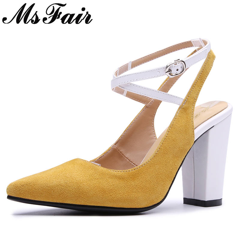 где купить MsFair Pointed Toe Sandals Women Shoes Fashion Metal Buckle High Heels Sandalias Mujer 2018 Ladies Shoes Women High Heel Sandals по лучшей цене