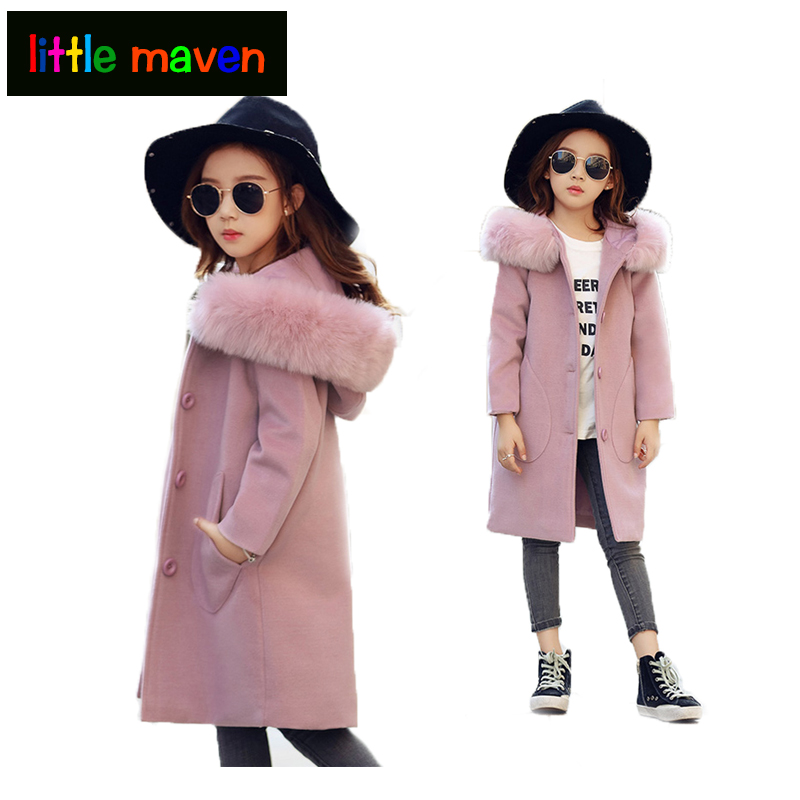 2018 Fashion Girls Winter Coat Wool Fur Collar Hooded Outwear Girls Coats Solid Children Warm Jacket Girls Clothing Kids Clothes winter fashion kids girls raccoon fur coat baby fur coats