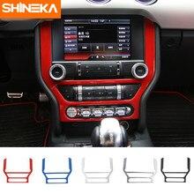 SHINEKA más ABS GPS DVD vídeo Marco de Panel tablero embellecedor interior, accesorios para Ford Mustang 2015 +