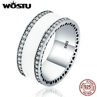 WOSTU Brand Hot Real 925 Sterling Silver Luxury Statement Wide Band Finger Rings For Women Jewelry