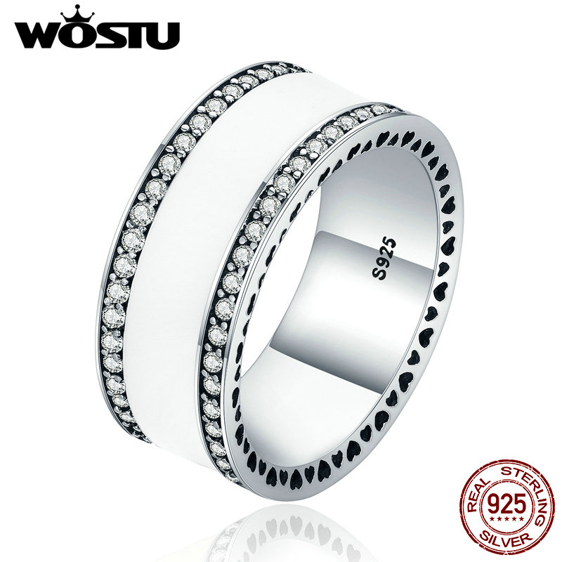 WOSTU Brand Hot Real 925 Sterling Silver Luxury Statement Wide Band Finger Rings For Women Jewelry Gift XCH7623