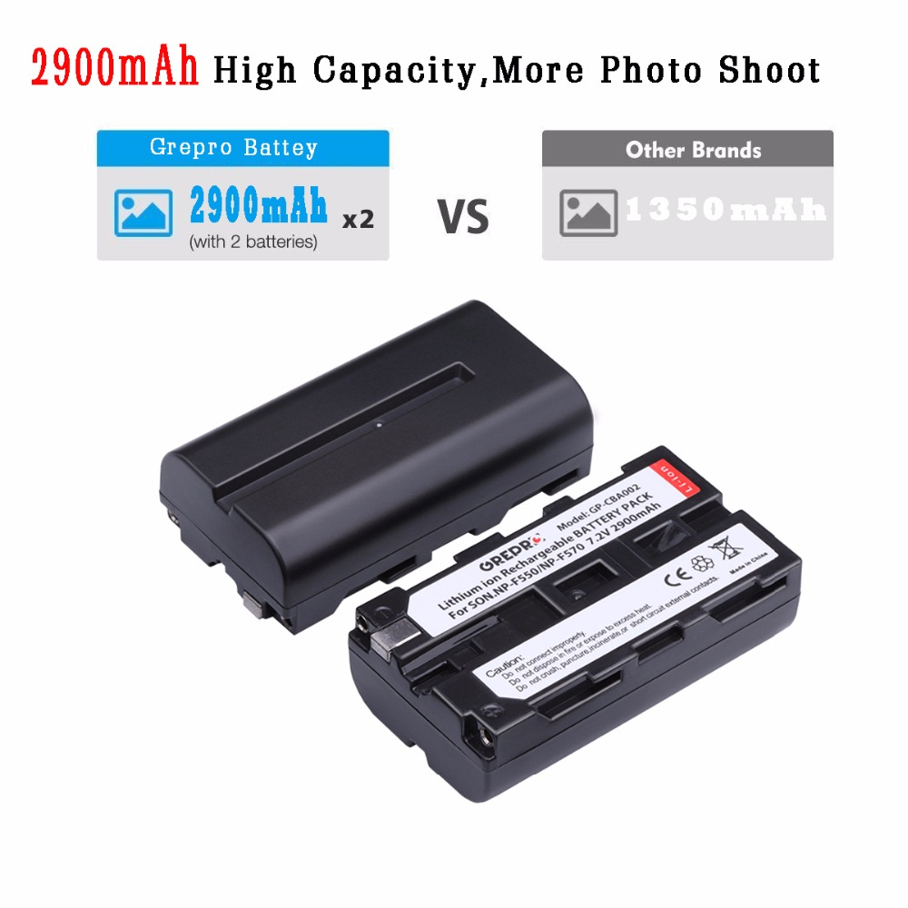 GREPRO 2pcs 2900mAh Battery NP F550 NP F330 NPF550 NP F750 F550 F330 Camera battery LCD Charger for Sony NP F550 NP F750 Bateria in Digital Batteries from Consumer Electronics