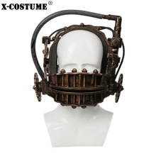 SAW Reverse Bear Trap Bronze Soft Resin Mask Movie Cosplay Props 2018 Halloween Party Cosplay Masks Trap Torture Instrument(China)