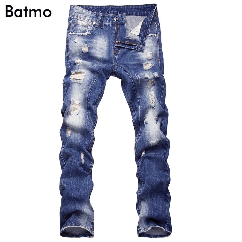 2017 NEW arrival high quality cotton blue hole Jeans men,Famous Brand Fashion Denim casual pants Men,plus-size 29-40 jeans men s blue slim fit fashion denim pencil pant high quality hole brand youth pop male cotton casual trousers pant gent life