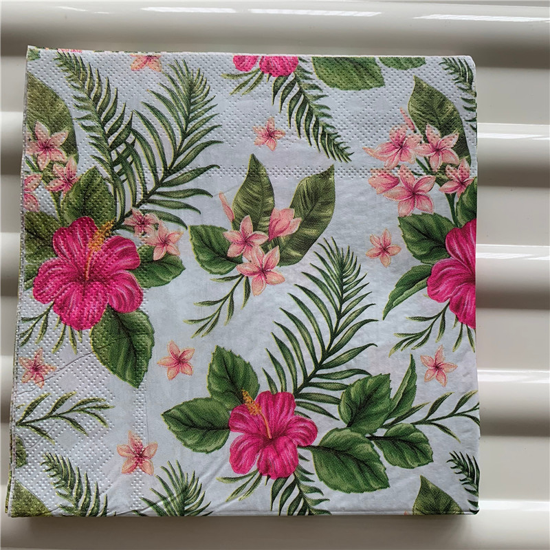 Decoupage Table Paper Napkins Elegant Tissue Vintage Towel Pink Red Flower Leaf Birthday Wedding Party Home Beautiful Decor 20