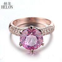 HELON Solid 10K Rose Gold 4.12ct Pink Topaz 9mm Round Cut Engagement With 0.4ct Diamonds Ring Wedding Anniversary Fine Jewelry