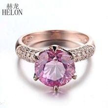 HELON Solid 10K różowe złoto 4,12ct różowy Topaz 9mm okrągły krój zaręczynowy z 0,4ct pierścionek z brylantami rocznica ślubu biżuterii