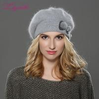 LILIYABAIHE NEW Winter Women Beret Hat Knitted Wool Angora Beret Simple And Stylish Mink Flower Decoration