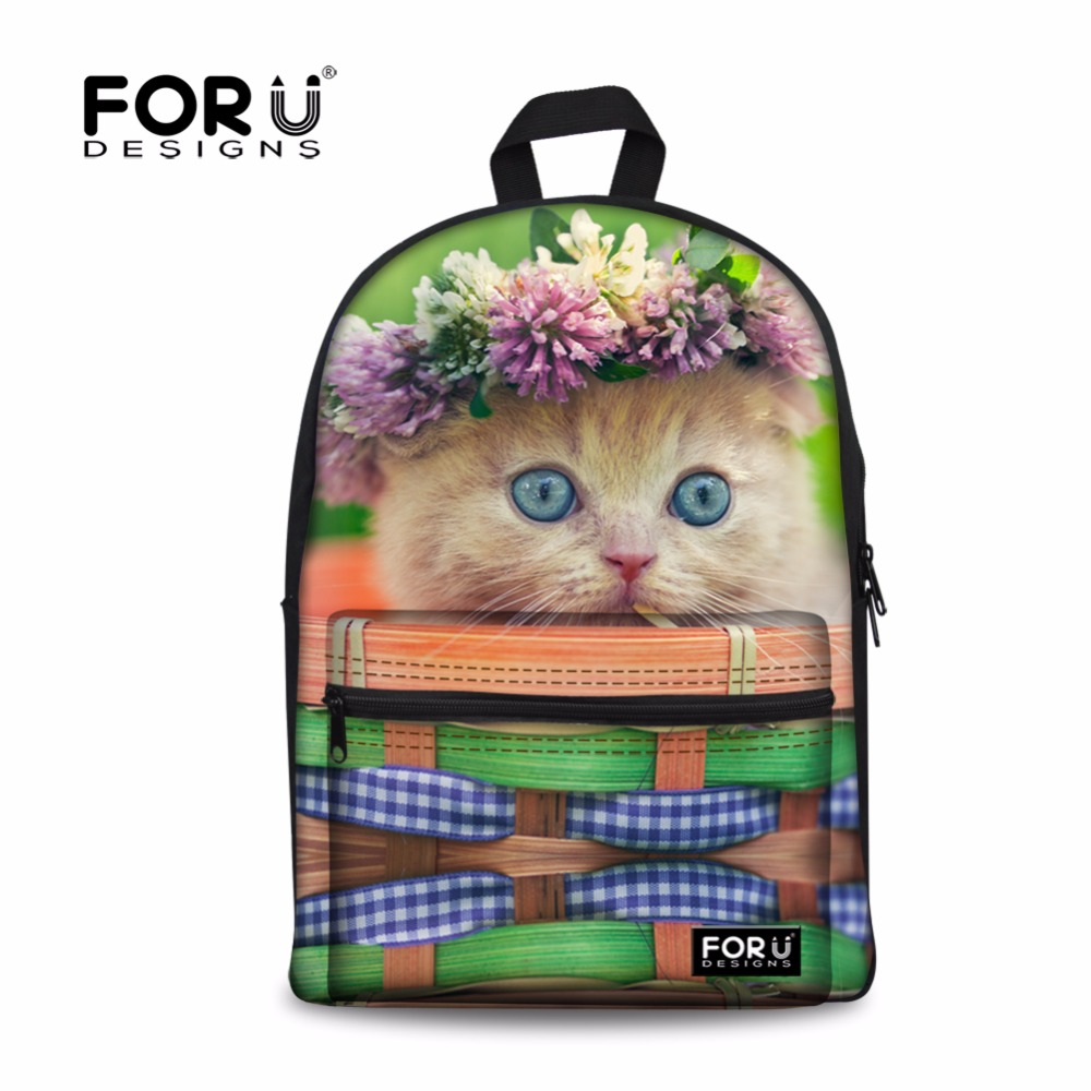 FORUDESIGNS Cute Animal Cat Printing Kids Schoolbags Children Canvas School Bags Kawaii Primary Student Kids School Book Bags