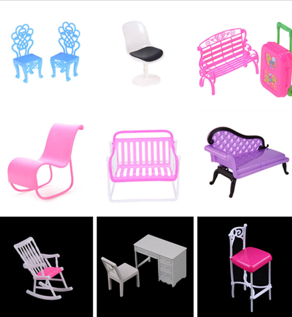 Dollhouse Computer Chair Rocking Couch Bench Chair Lounge For Barbie Doll Livingroom Bedroom Garden Child Furniture Toy