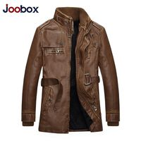 JOOBOX Brand Men's Leather Jacket 2016 Fashion Stand Collar Fleece Winter Thicken Washed Pu Casual Black Leather Jacket Men XXXL
