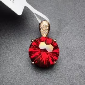 Fine Jewelry Customized Collection Real 18K Rose Gold 100% Natural Red Topaz Gemstone Pendant NecklaceFine Jewelry Customized Collection Real 18K Rose Gold 100% Natural Red Topaz Gemstone Pendant Necklace
