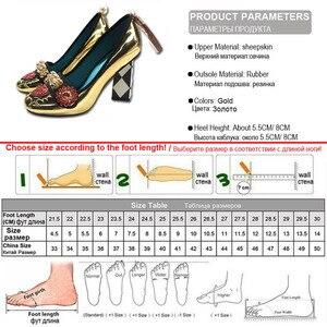 Image 5 - Phoentin 골드 하이힐 여성 크리스탈 꽃 신발 프린지 리벳 2020 패션 appliques 숙녀 펌프 정품 가죽 FT621G