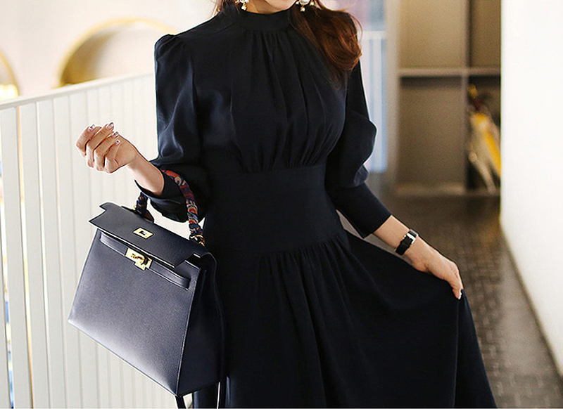 Office Ladies Stand Collar Lantern Sleeve Women Dress Elegant Slim Waist A-line Ruched Female Long Dress Party Vestidos femme 9