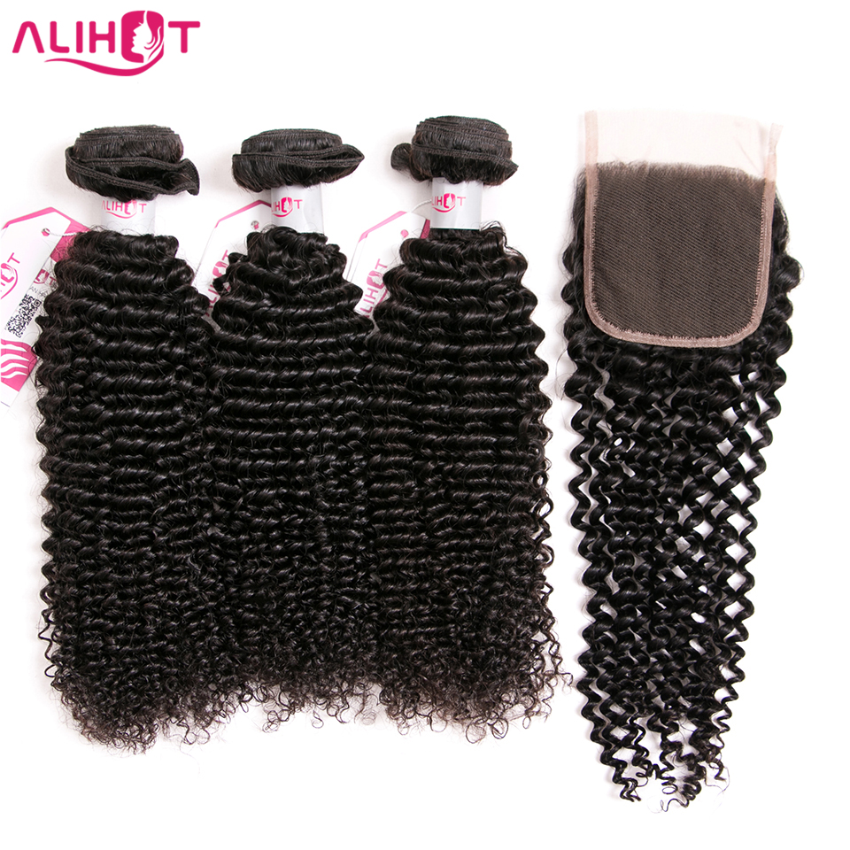 ALI HOT Indian Kinky Curly Hair 3 Bundles With Free Part Lace Closure Natural Color Remy Human Hair Bundles With Closure