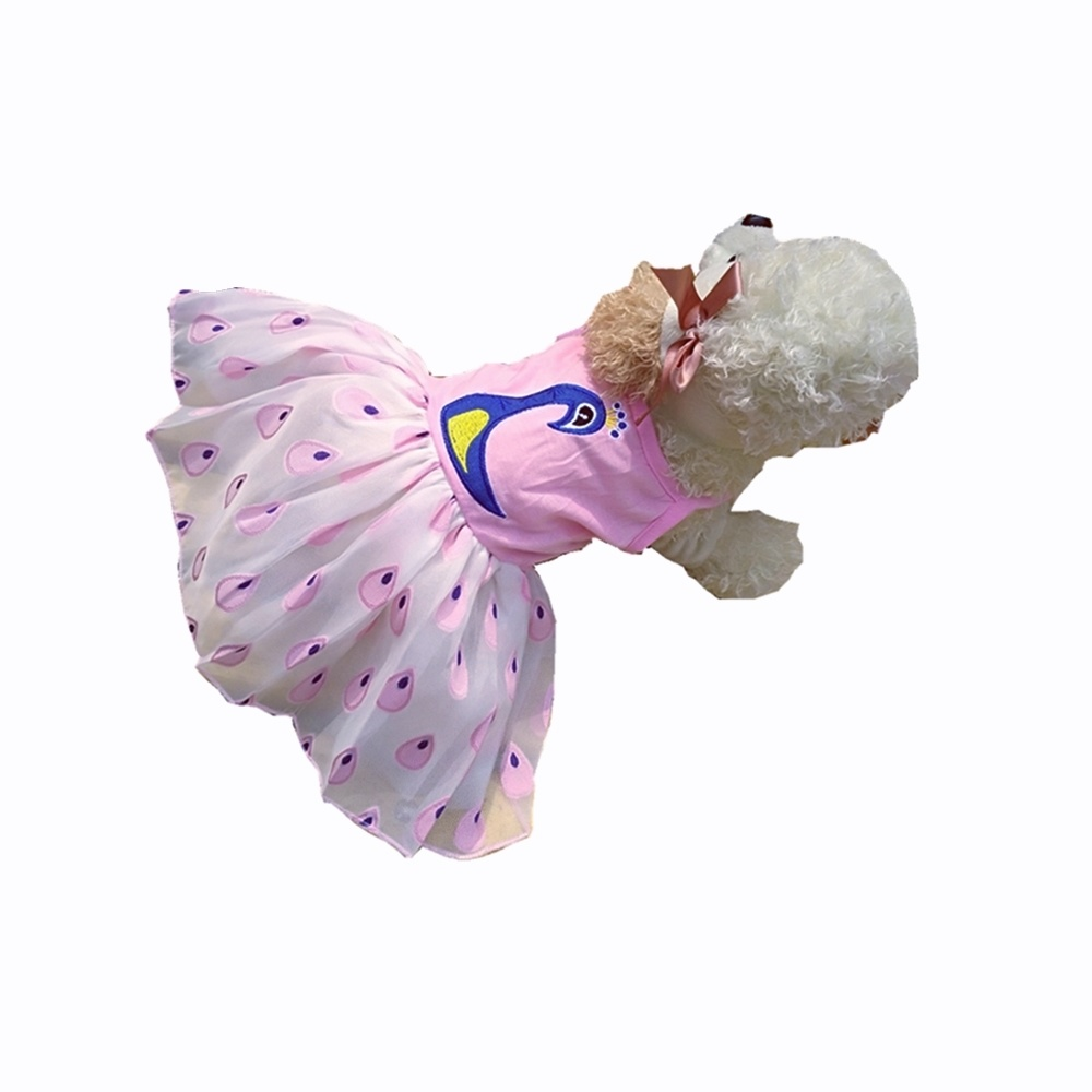 Graceful Pecock Skirt for Small Puppy Dogs Birthday Party Cute Pink Dress for Dogs New Year Christmas Chihuahua Teddy XS S M