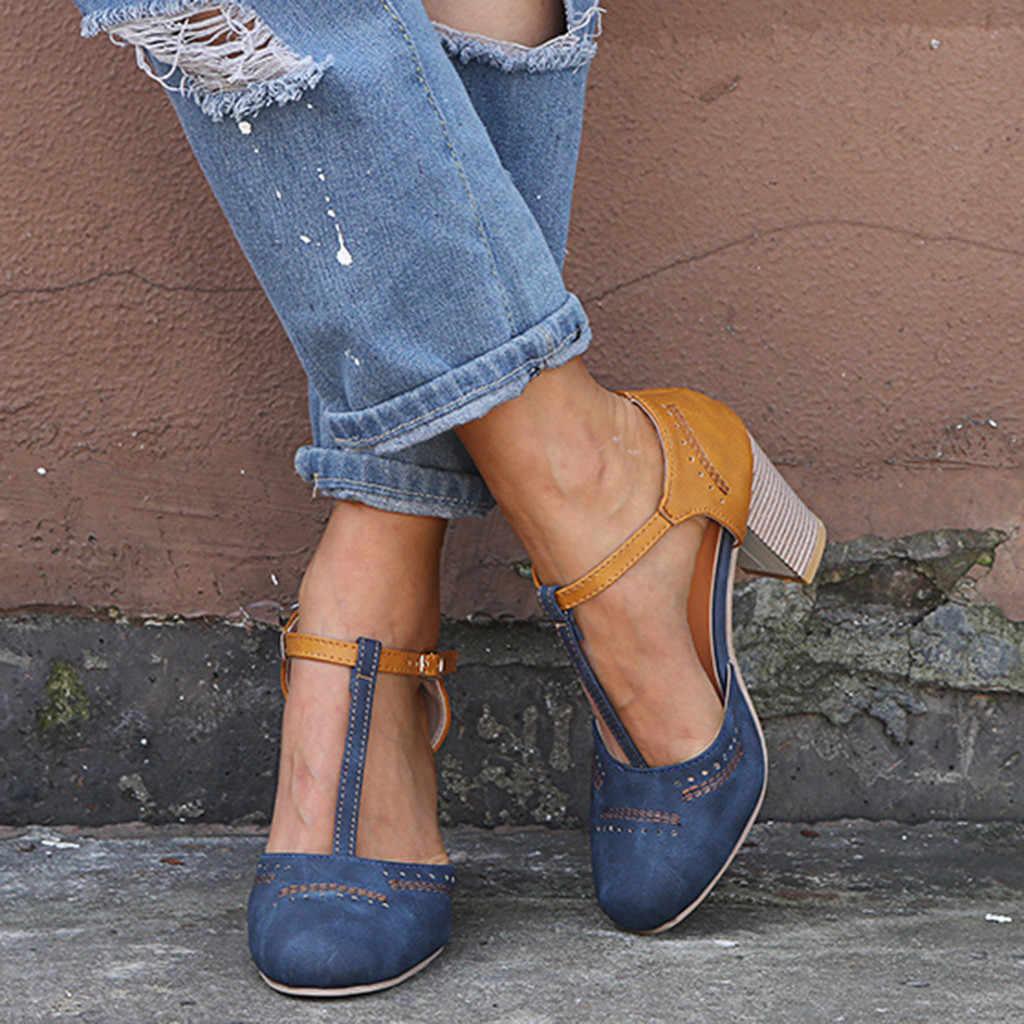 Moda yaz ayakkabı kadın sandalet moda roma yuvarlak ayak toka kayış sandalet kalın topuk pompaları yüksek topuklu Torridity ayakkabı