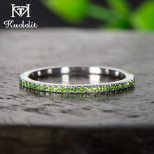 Kuololit Solid 10K White Gold 100%Natural Tsavorite Gemstone Rings for Women 100% Hand Setting Band Ring Engagement Fine Jewelry(China)