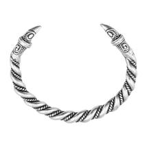 bbc7a17f8140 Hecho a mano personalizar antiguo Color plata Norse Viking Cuervo abrir  brazaletes Crow Head pulsera y brazalete vikingos joyerí.