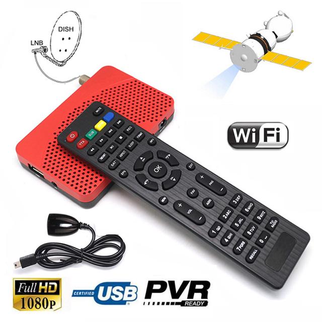 Tamaño Mini 1080 P DVB-S2 FTA DVB-S Receptor Digital de Satélite Wifi Cccam IKS TV BOX Internet Potencia de Grabación PVR Vu EPG