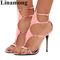 2019 Summer Fashion Thuin Hihg Heel And Open Toe Pink Color Cover Heel Buckle Strap Sexy Sample Women Sandals High Quality