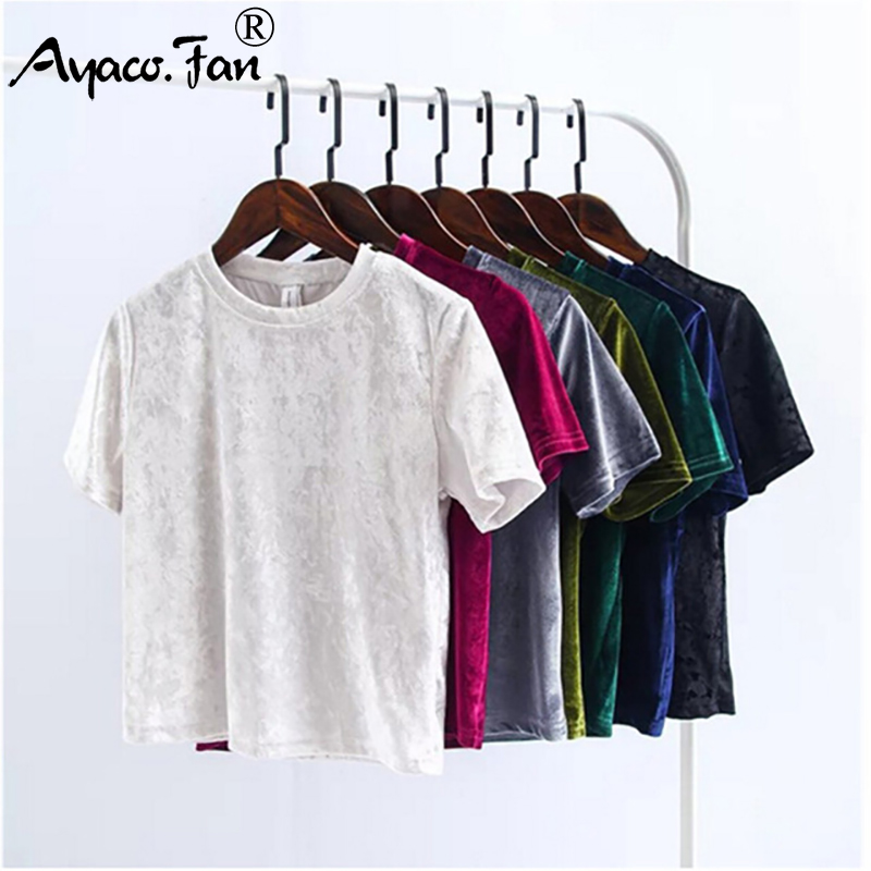 Summer Velvet Crop Tops Women T-Shirt New Fashion Back Slit Short Sleeve T-shirt Ladies Casual Velour Tops Tees Female Clothing