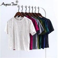 Summer Velvet Crop Tops Women T-Shirt New Fashion Back Slit Short Sleeve T-shirt