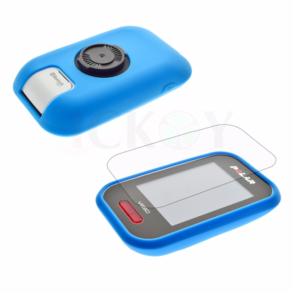 Outdoor Cycling Silicone Rubber Protect Red Case + LCD Screen Film Protector For Polar V650 GPS Accessories