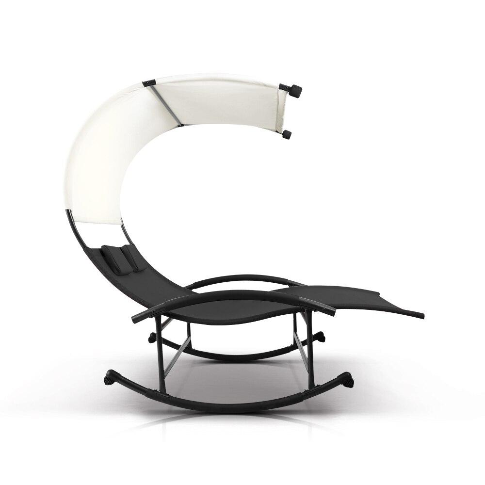 IKayaa Im Freien Doppelte Chaise Rocker Baldachin Garten Pool Doppel Garten  Stuhl Bett Terrasse Sofa Möbel DE Lager In IKayaa Im Freien Doppelte Chaise  ...